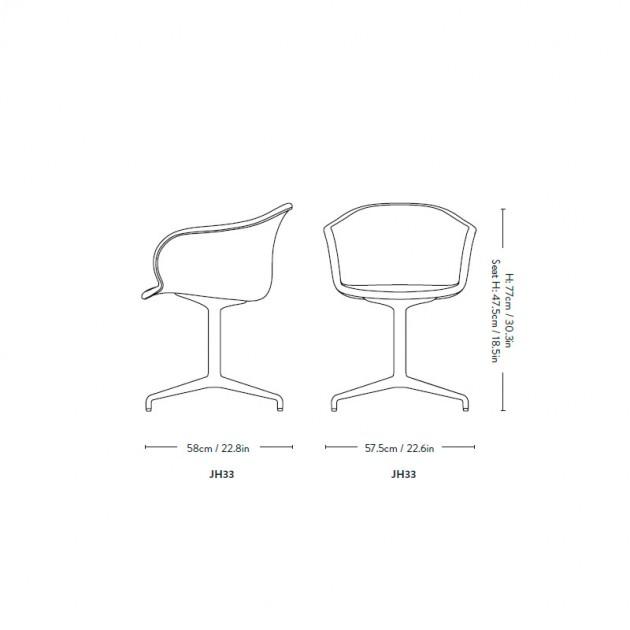 Medidas silla Elefy JH33 Andtradition