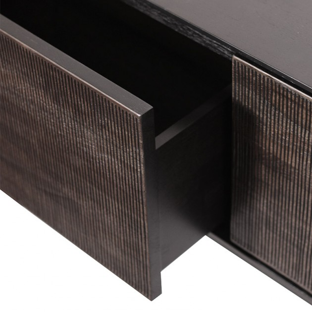 detalle cajón mueble de TV Grooves teca Ethnicraft