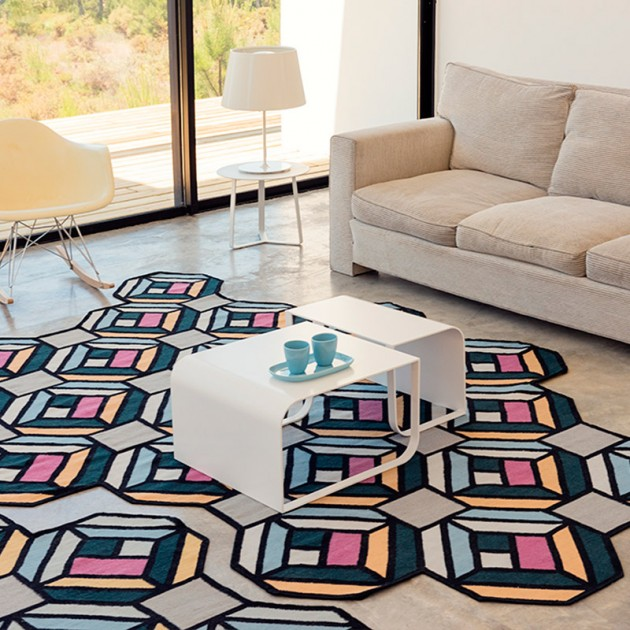 Kilim Parquet Tetragon Blue Gan rugs by Front