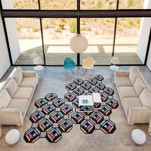 salón con Kilim Parquet Tetragon Blue Gan rugs