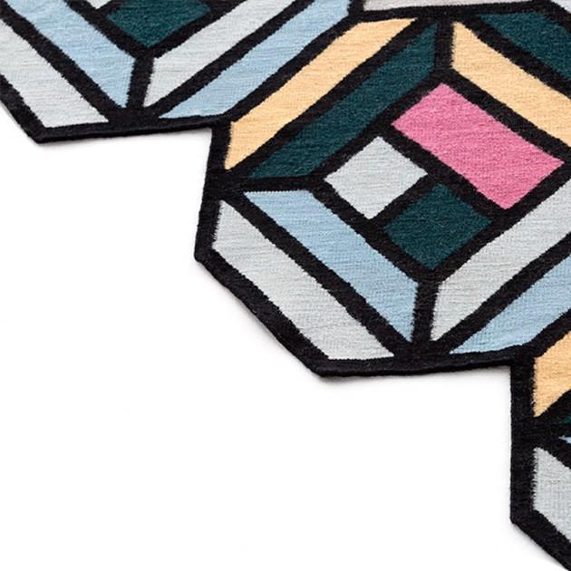 dibujo Tetragon Blue Gan rugs lana