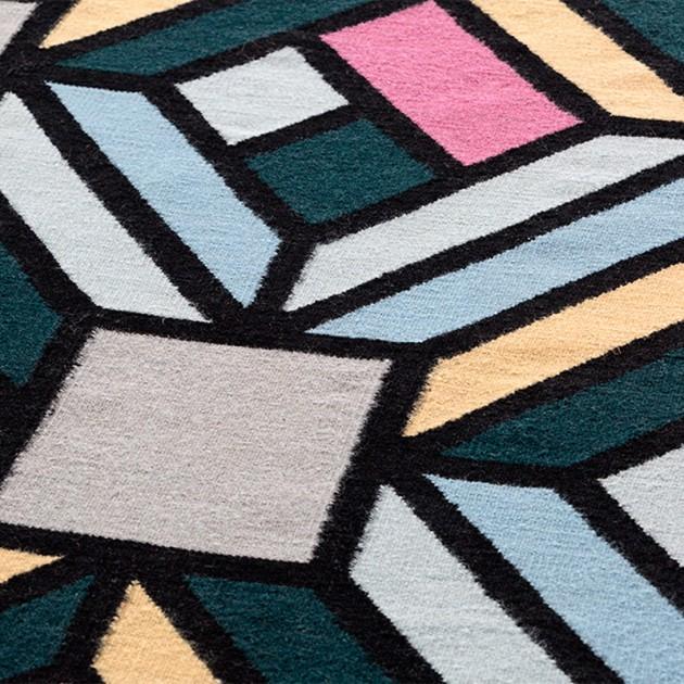 detalle Parquet Tetragon Blue Gan rugs