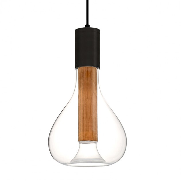 Lámpara suspensión Eris natural cherry base negra LZF
