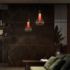 salón lámpara suspensión Eris natural cherry base negra lzf