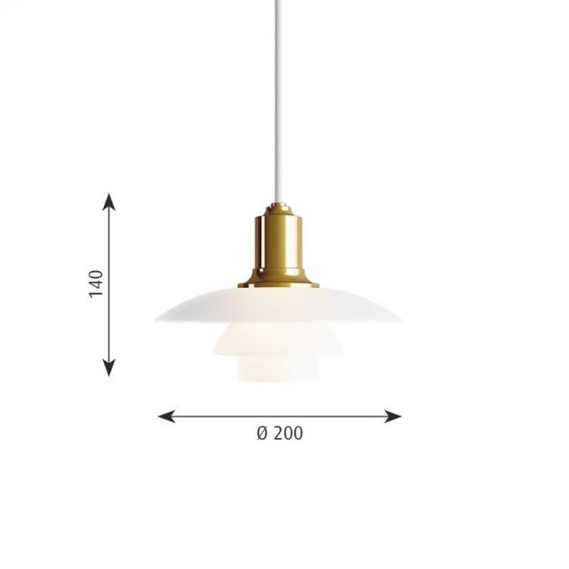 medidas Lámpara PH 2/1 suspendida Louis Poulsen