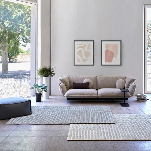 Ambiente alfombra Chaddar grey de Gan Rugs en Moises Showroom
