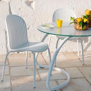 ambiente detalle mesa Lotto 190 y sillas Ninfea Nardi blanco