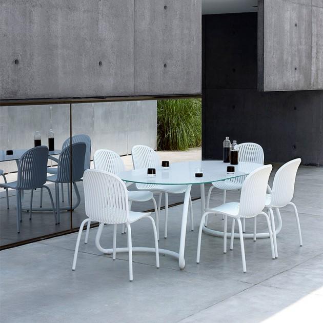 comedor exterior pack mesa Lotto 190 y sillas Ninfea Nardi blanco
