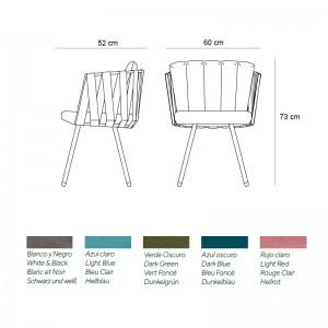 medidas y tapizados silla Anthea Indecasa