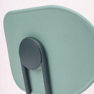 detalle respaldo silla Hari polipropileno Ondarreta azul Cantábrico