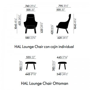 medidassillón Hal lounge chair & Ottoman Vitra