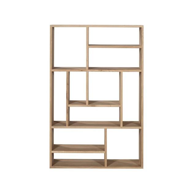 Estantería de pie M Rack medidas 90x30 x139 en roble con estantes verticales y horizontales en su interior