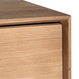 Detalle esquina Consola Nordic dos cajones fabricado en roble medidas 160x40x85 de Ethnicraft
