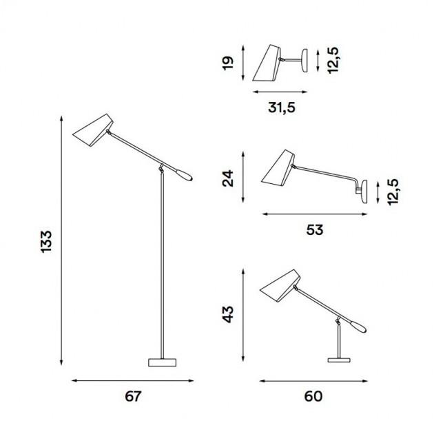 dimensiones Lámpara Birdy de pared brazo corto de Northern Lighting. Disponible en Moisés showroom