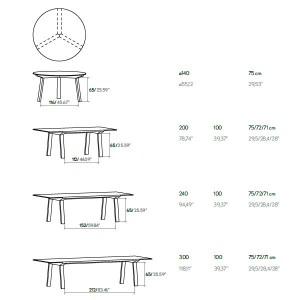 dimensiones Mesas Mitis de Punto Mobles